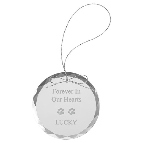 Forever in Our Hearts - Custom Personalized Laser Engraved 3-1/4-inch Etch Handmade Round Clear Etched Crystal Glass Circle Inspirational Christmas Ornament with String