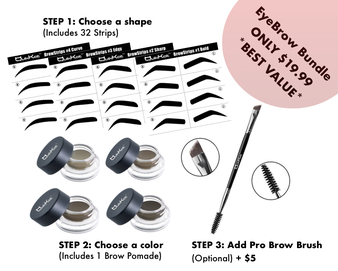 EyeBrow Bundle for $19.99 Includes: - 32 BrowStrips in the Shape Pack of Your Choice - 1 Brow Pomade in the Color of Your Choice - Optional Pro Brush for an extra $5