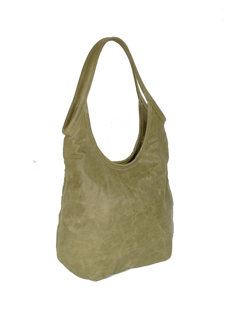 7a6785982c Distressed Green Leather Hobo Bag