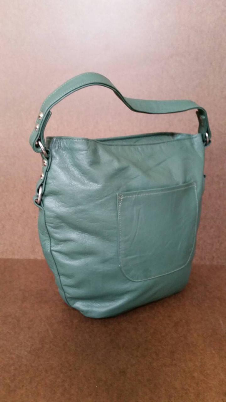 Forest green leather shoulder bag - everyday
