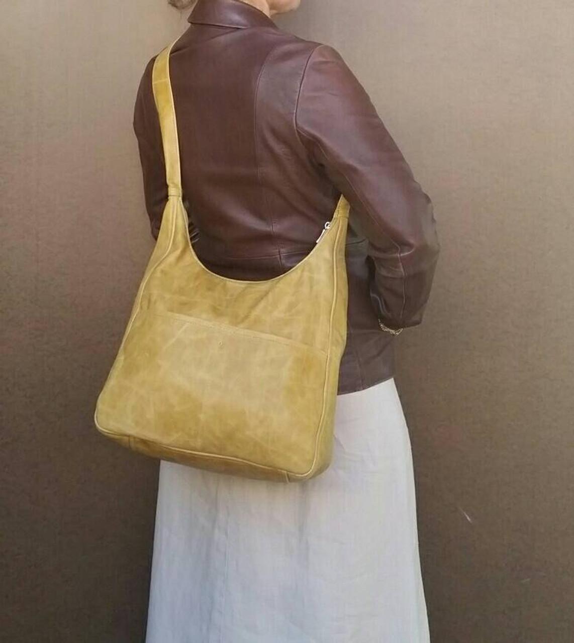 Distressed Camel Leather Handbag b5306058c9427