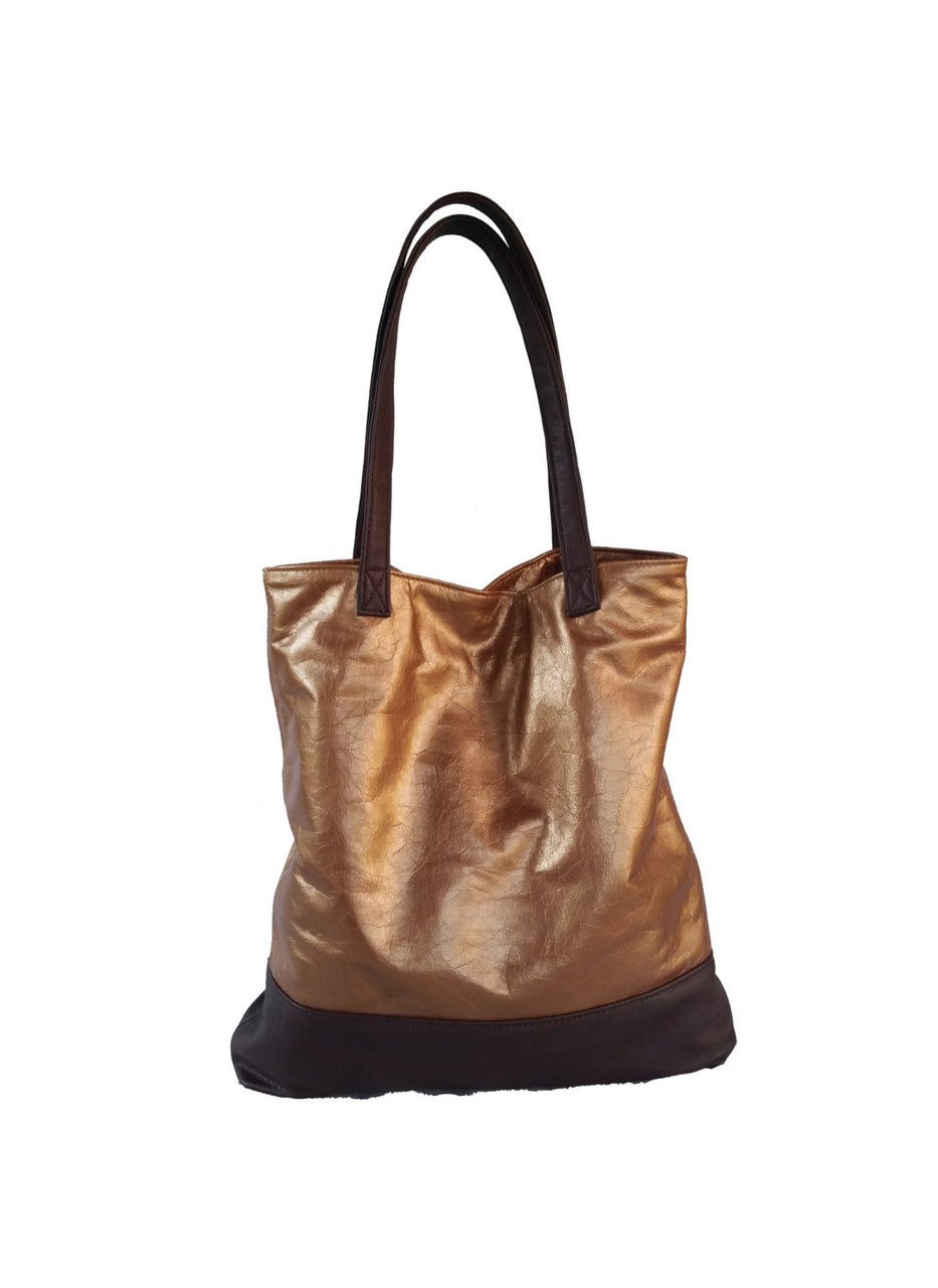 e100affbe7f9 Two Tones Bronze and Dark Brown Leather Tote Bag - Metallic Shoulder Handbag  - Large Handmade Totes yosy - Fgalaze Genuine Leather Bags   Accessories