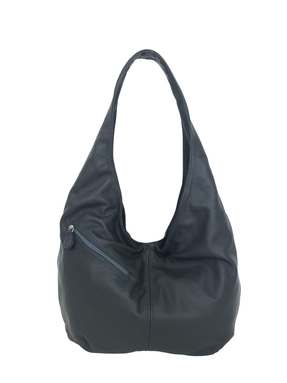 a15439ee83cf Gray Leather Hobo Bag w  Pockets