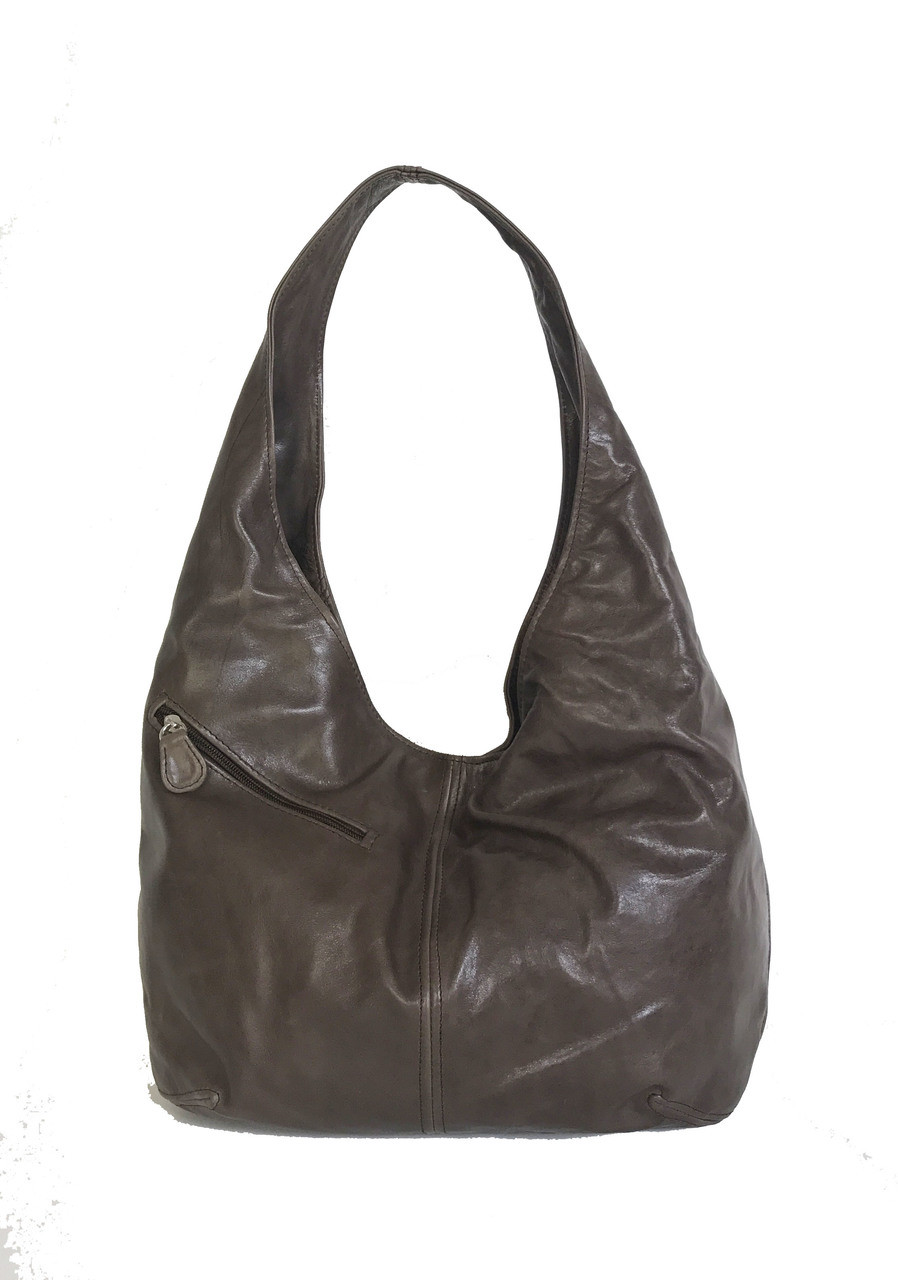 51a57018024b Brown Leather Slouchy Hobo Bag