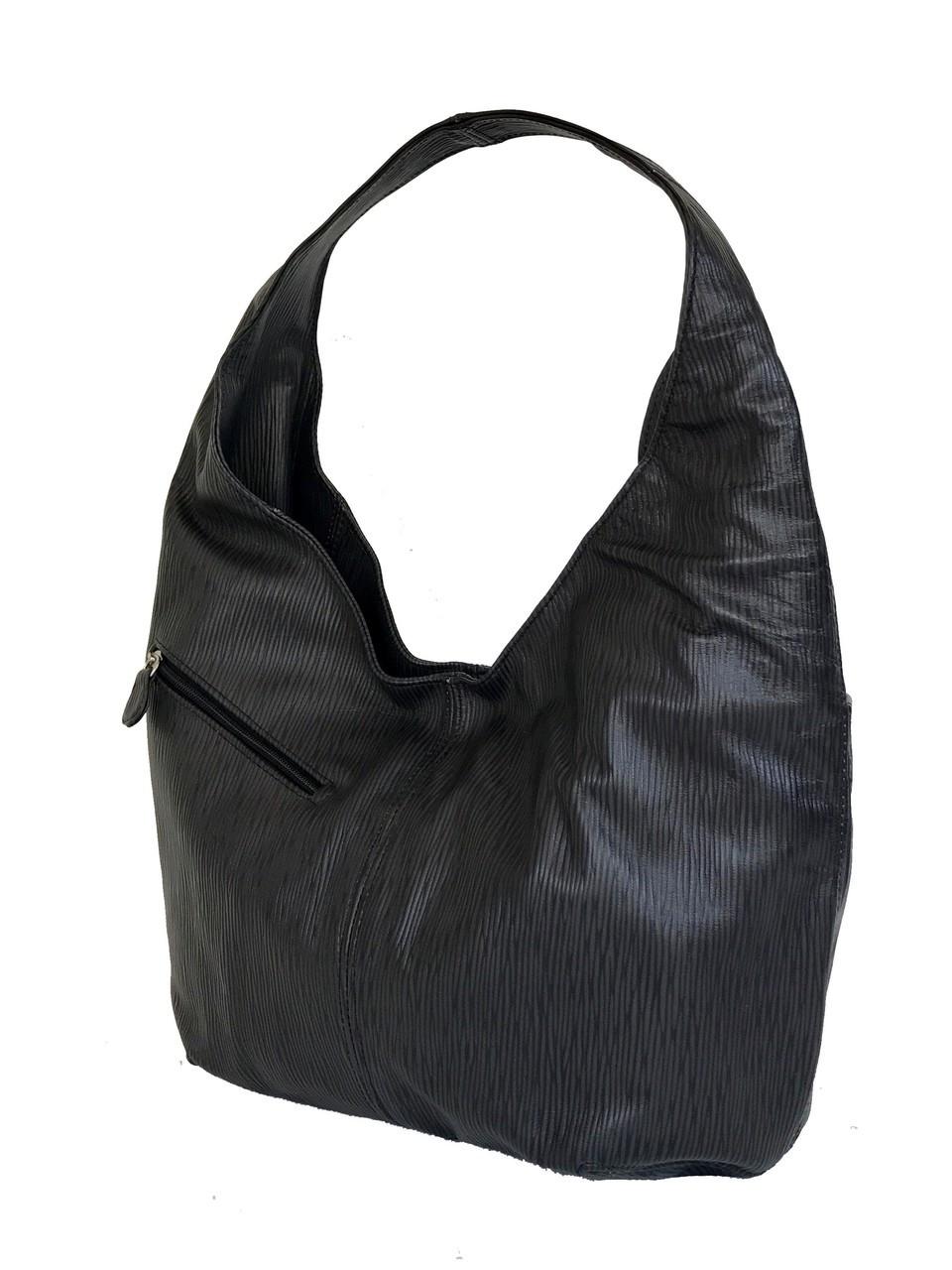 001683069dc3 Black Leather Hobo Bag w  Pockets