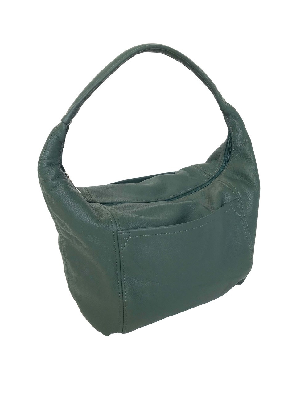 dc61e3c65ccb7a Green Leather Hobo Bag with Pockets, Everyday Handbag, Rosa - Fgalaze  Genuine Leather Bags & Accessories