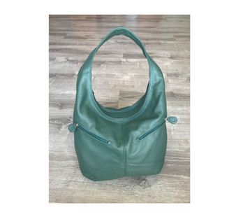 Green Leather Bag, Slouchy Handbag w/ Pockets, Aly