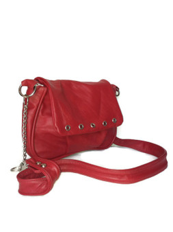 Small Red Leather Bag, Crossbody Style, Sury