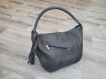 Dark Gray Leather Purse, Casual Shoulder Bag, Handbag,  Sofia