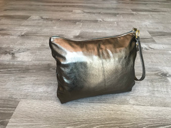 Metallic Leather Clutch Bag, Bronze Evening Purse, Angel