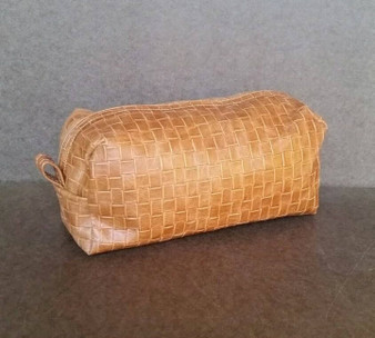 Unique Brown Tan Textured Leather Make UP or Toiletry Bag, Men's Gifts