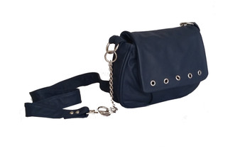 Navy Blue Leather Cross-body Bag, Small Women Purse, Sury