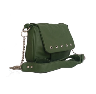 Small Forest Green Leather Crossbody Purse Bag - everyday handmade handbag - Gift ideas - sury