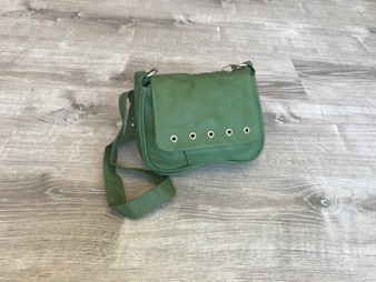 Small Forest Green Leather Crossbody Purse Bag, Everyday Handmade Handbag, Gift Ideas, Sury