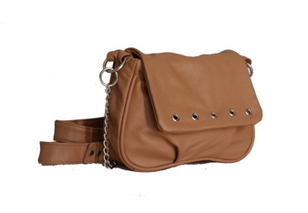 Camel Leather Crossbody Bag - small messenger shoulder purse - handmade bags sury