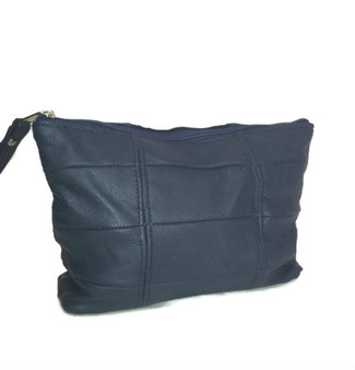 Blue Leather Make Up Bag, Cosmetic Purse, Rustic Patch Handbag, Cosmos