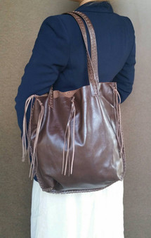 Boho chic brown leather bag - everyday casual purse - unlined shoulder handbag - handmade handbags carmen