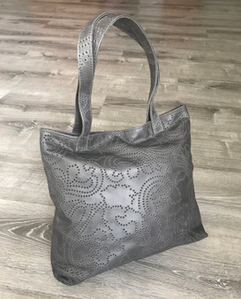 Unique Women Gray Leather Tote Bag with outside pocket / Original Shoulder Handbag yosy