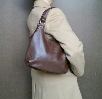 Brown Leather Shoulder Bag - Small Lightweight Purse - Urban Handbag - Handmade Totes bony