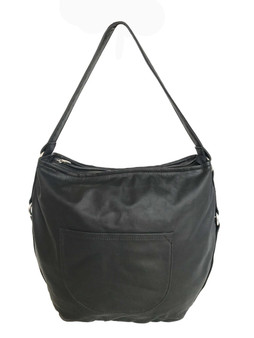 Black Leather Hobo Bag , Casual Shoulder Handbag, Sujey