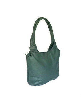 Forest green tote leather purse /  everyday shoulder bag / fashion preppy handbag  with tassel bony2