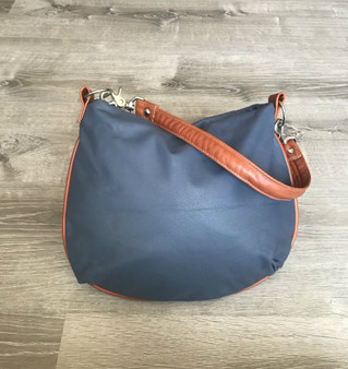 Hobo Leather Purse Bag - Colorful Tan Indigo Blue Smooth Leather - Small Shoulder Handbag  Becky
