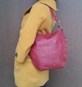 Hobo leather purse dark red bag medium retro fashion casual style burgundy lightweight handbag handmade handbags and purses sujey