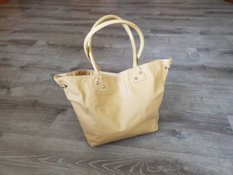Handmade beige leather shoulder bag