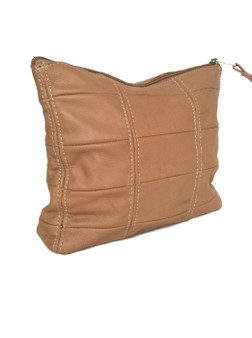 Camel Leather Clutch, Rustic Fashion Handbag, Letty