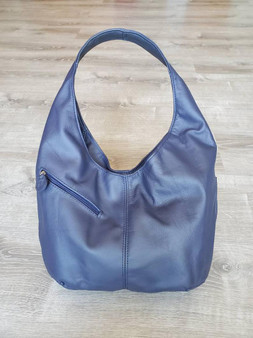 Blue Leather Handbag w/ Pockets, Everyday Casual Handmade Bags, Alicia