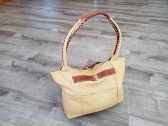 Rustic Cream Beige Leather Purse, Everyday Casual Shoulder Handbag, Kenia