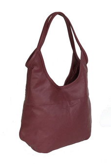 Dark red leather bag - boho chic purse - fashion slouchy shoulder handbag - handmade purses machel