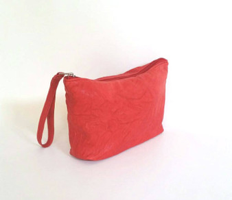 Rustic Red Leather Clutch Bag with Wrist Strap - Wristlet Bags - Women's Pouch - Cosmetic Purse - Cosmos