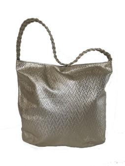 Women Handbags, Textured Gold Leather Bag w/ Braided Handle Purse, Claudia