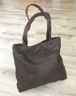 Brown Suede Leather Tote Handbag - Casual Shoulder Purse - Soft Lightweight Totes yosy