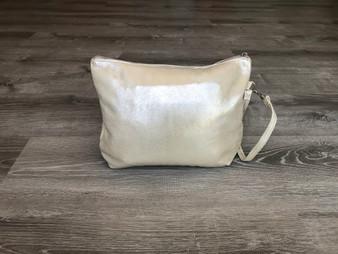 Gold Leather Clutch Bag, Evening Smooth Fashion Purse, Angel