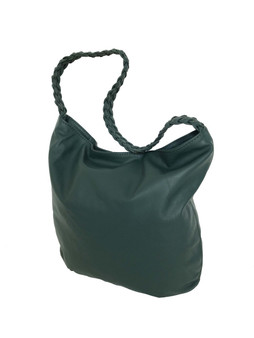 Green Leather Bag w/ Braided Handle, Fashion Leather Purse, Casual Shoulder Handbag, Claudia