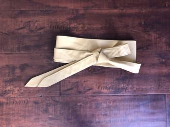 Beige Wrap Leather Obi Belt, Wide Tie Style Fashion Belts, Dean