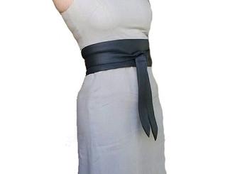 Gray Leather Obi Belt, Fashion Wide Wrap Women Tie Belts