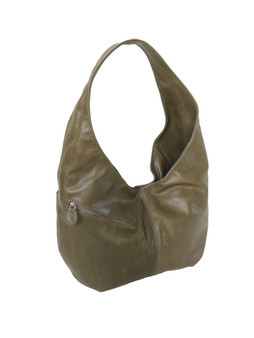 Rustic Green Leather Hobo Bag with Pockets for Women,  Alicia