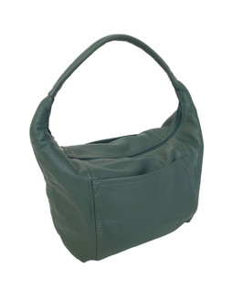 Green Leather Hobo Bag with Pockets, Everyday Handbag, Rosa