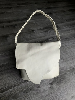Ivory Leather Hobo Bag w Braided Handle and Rustic Flap, claudia