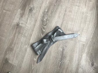 Dark Silver Wrap Leather Obi Belt, Wrap Wide Belts