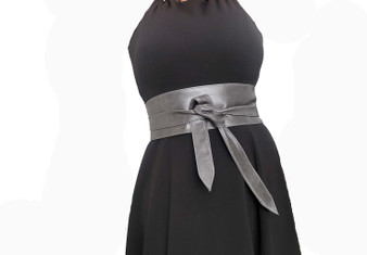 Wrap Gray Leather Obi Belt, Fashion Distressed Wide Belts