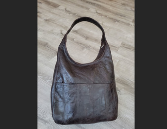 Rustic Brown Leather Hobo Bag with Pockets, Vintage Leather Purses, Cocoon