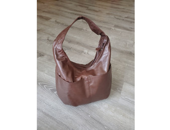 Brown Leather Hobo Bag with Pockets, Casual Fashion Handbags, Aly