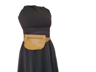 Distressed Camel Leather Belt Bag, Waist Bag, Fanny Pack, Hip Bag, Unisex, David
