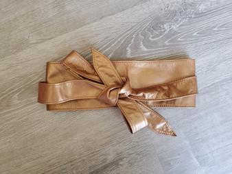 Wrap Leather Obi Belt, Metallic Bronze Wide Belts, Evening Tie Belts, Women's Fashion Belts, Original Stylish Trendy Belts