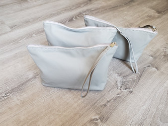 Gray Leather Bag w/ Wrist Strap, Fashion Wristlet, Trendy Pouch, Weekend Clutch Purse, Comet