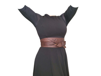 Brown Wrap Leather Obi Belt, Fashion Trendy Stylish Women Wide Belts, Dean